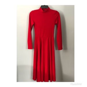 Red fitted flowy dress